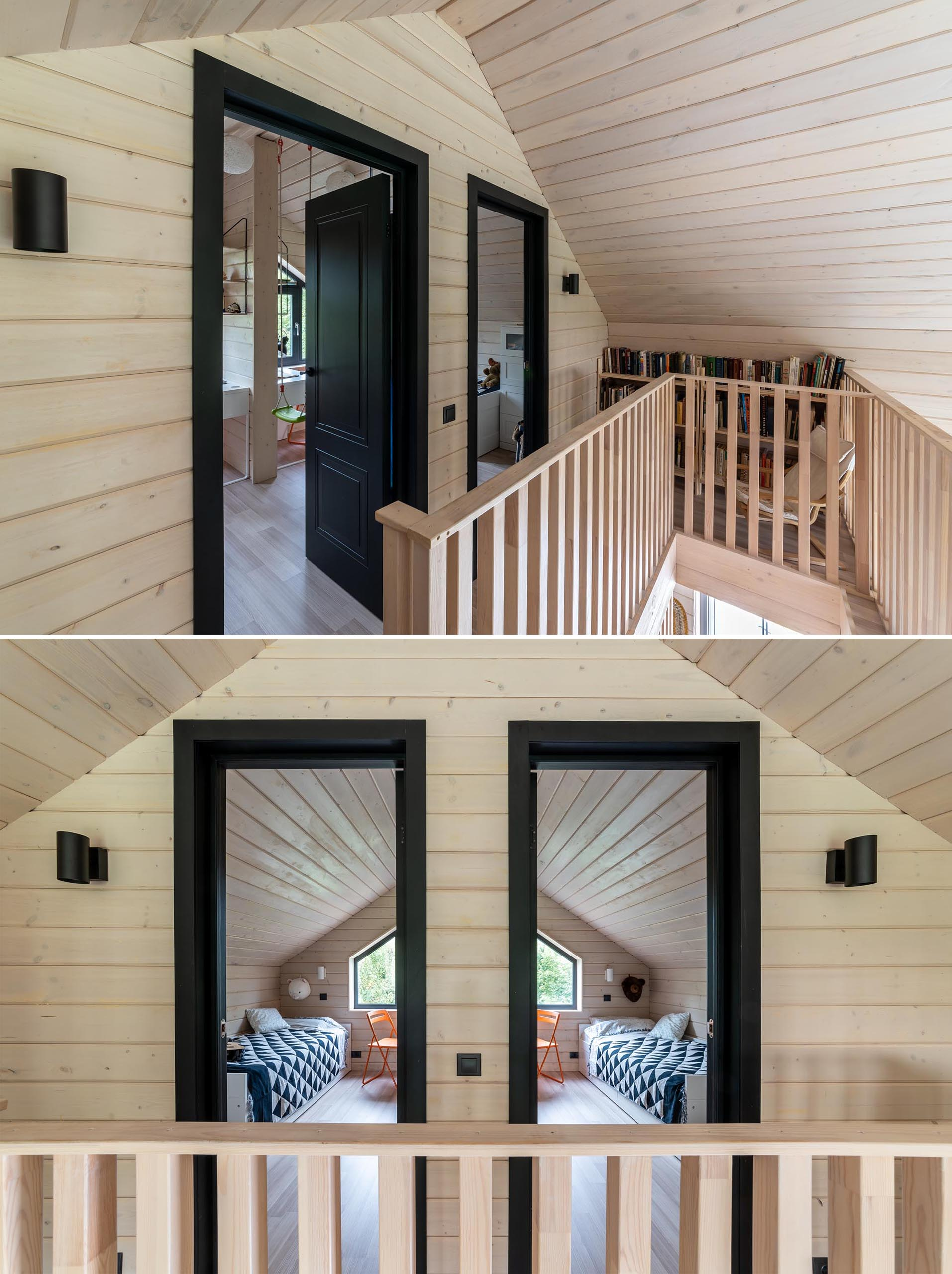 A modern barn-inspired home with tongue and groove wood siding and black accents.