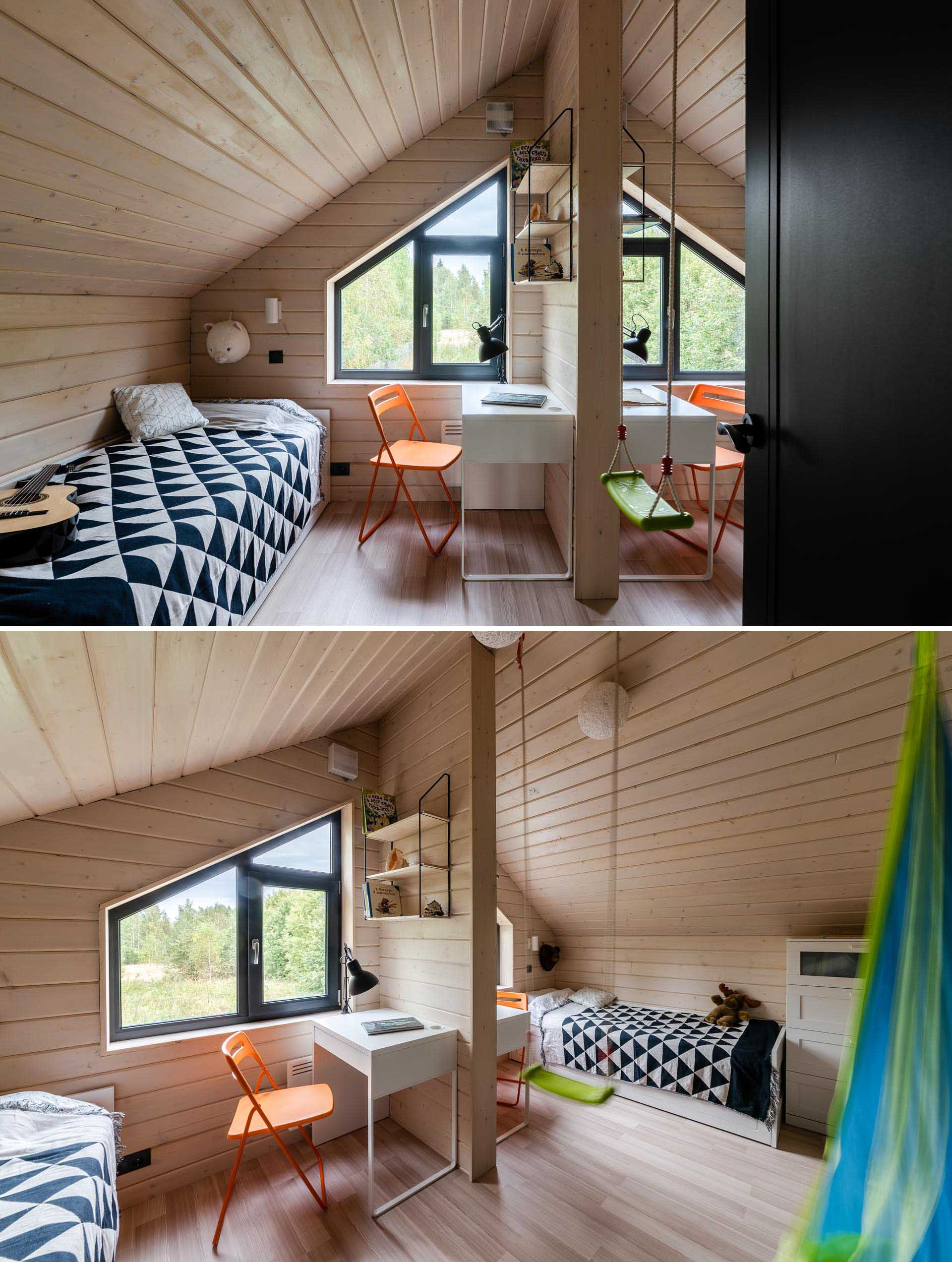 These kid's bedrooms are mirror images of each other, however the wall between the two rooms is only partial, allowing the children to play together, yet still have their own space.