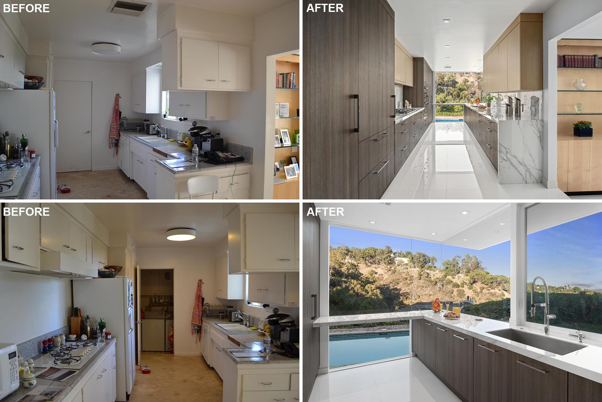This modern kitchen remodel included removing the far wall, which was once the laundry room, and adding floor-to-ceiling windows that provide natural light and views of the landscape and pool.