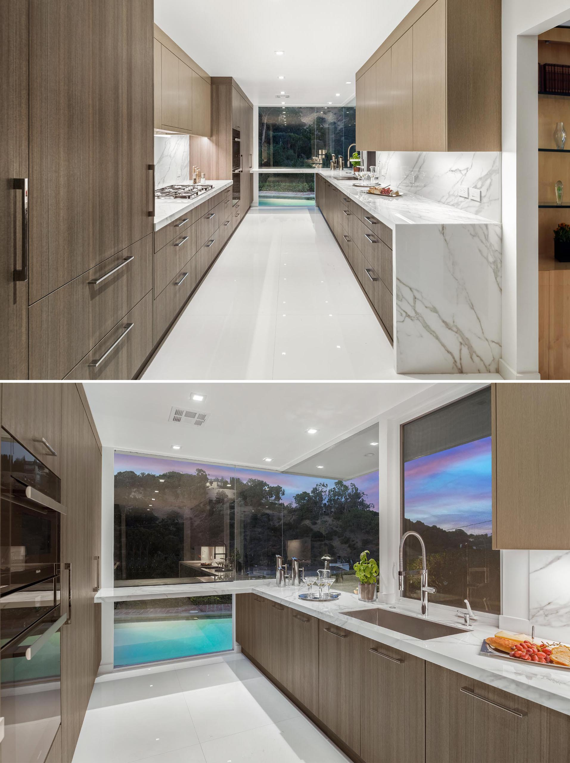 Hidden lighting under the cabinets and lights in the ceiling ensure that the kitchen is bright, even at night.