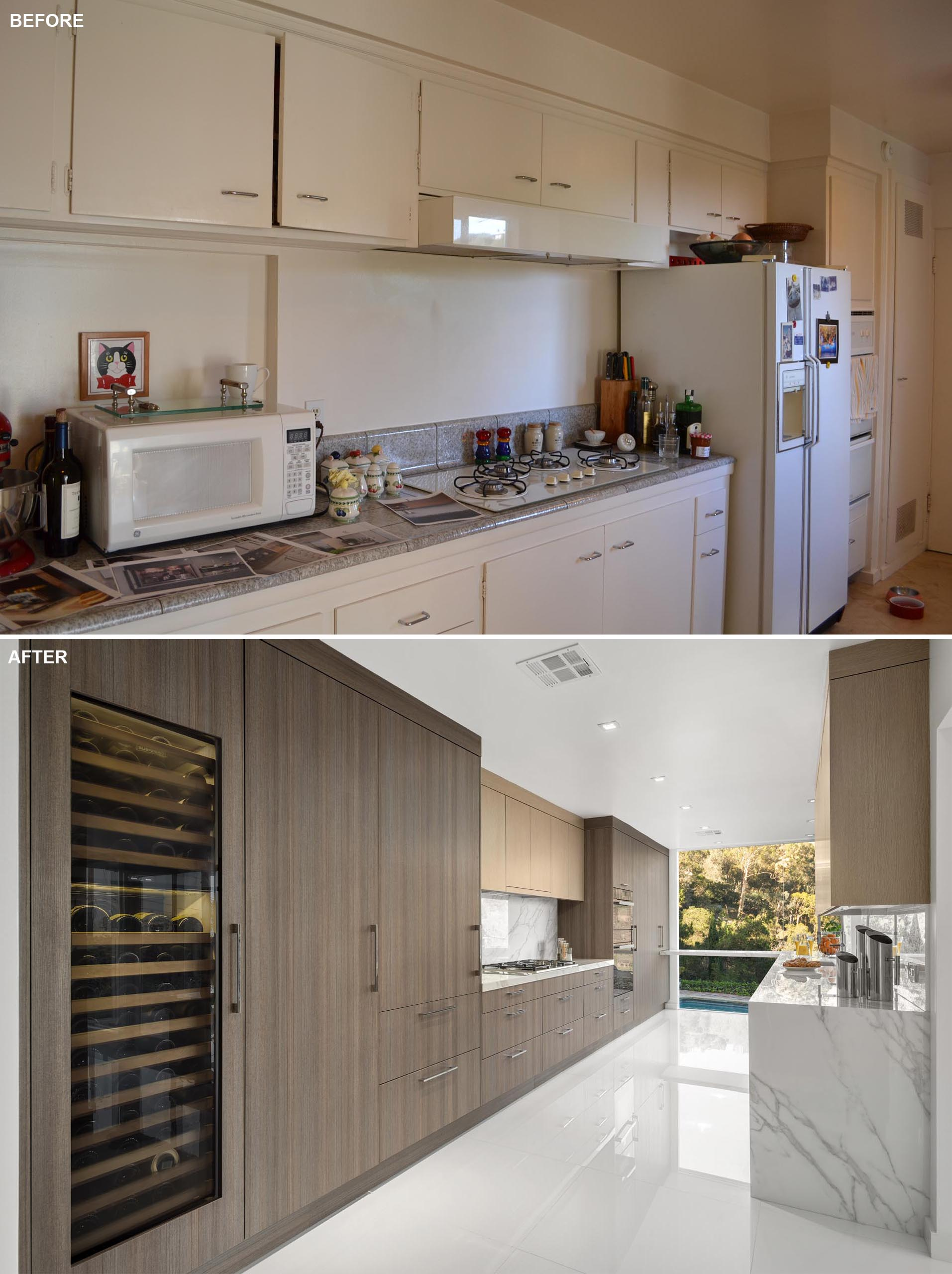 This updated kitchen includes a wall of floor-to-ceiling cabinetry that integrates the fridge and a wine refrigerator.
