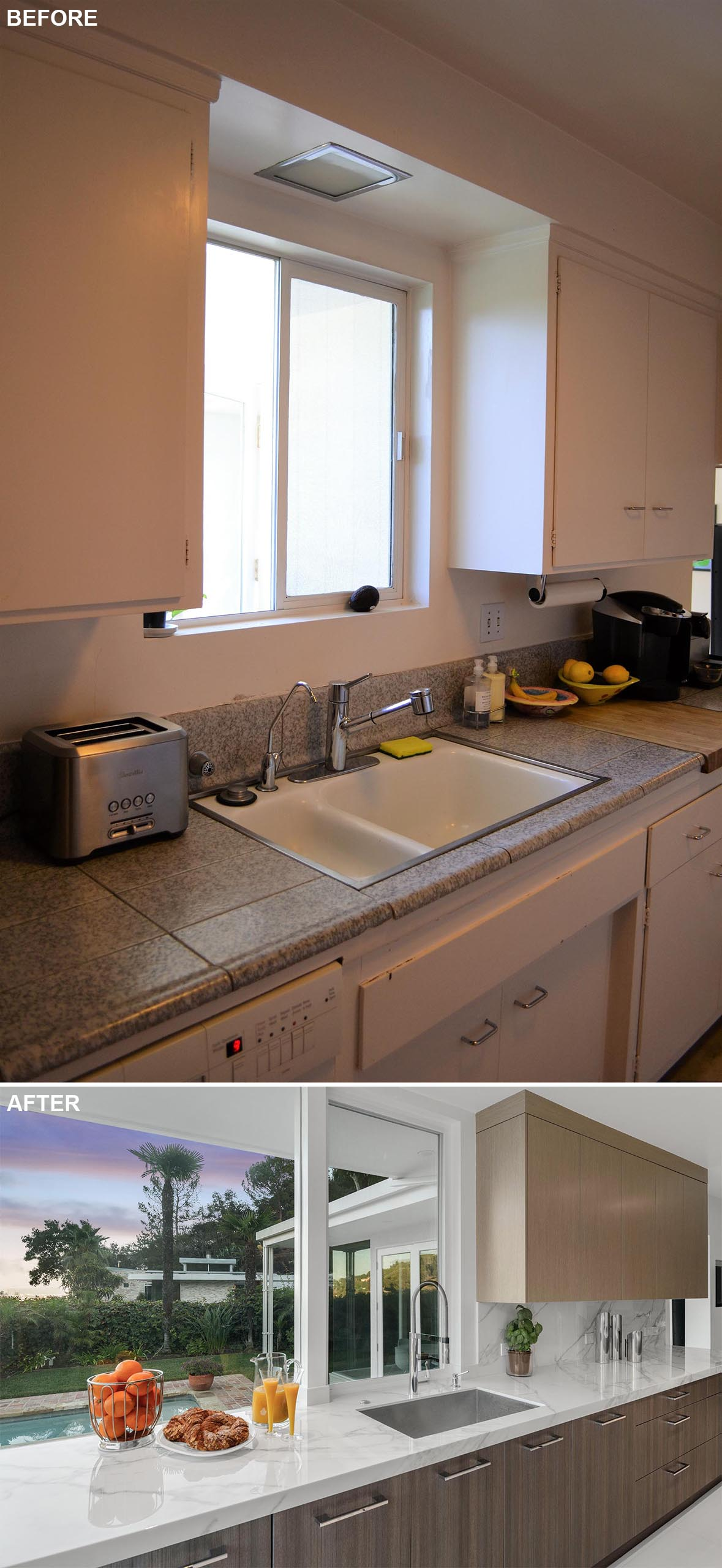 This modern kitchen remodel features custom cabinets with wood fronts, and an undermount stainless steel sink.