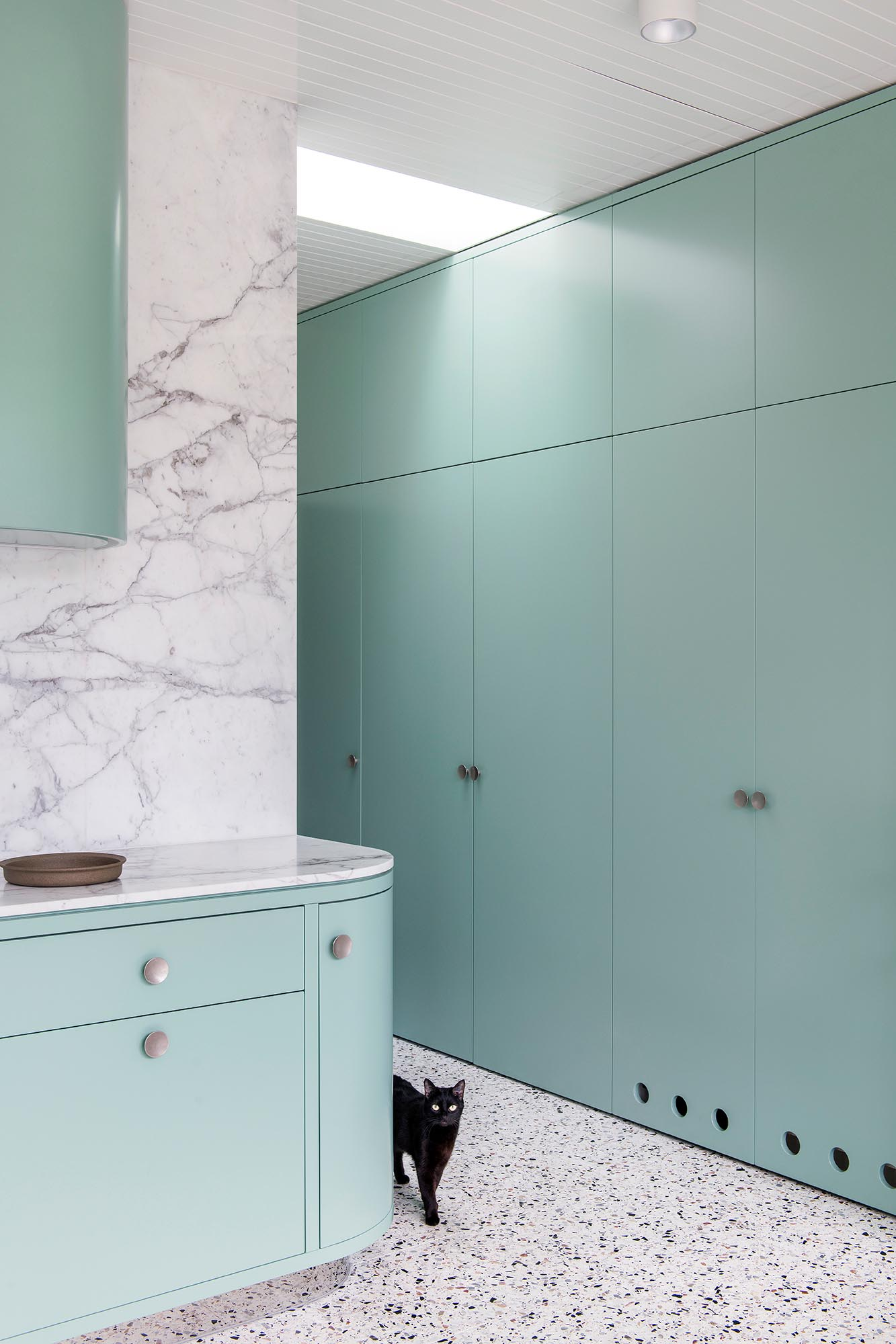 Modern mint green floor-to-ceiling cabinets.