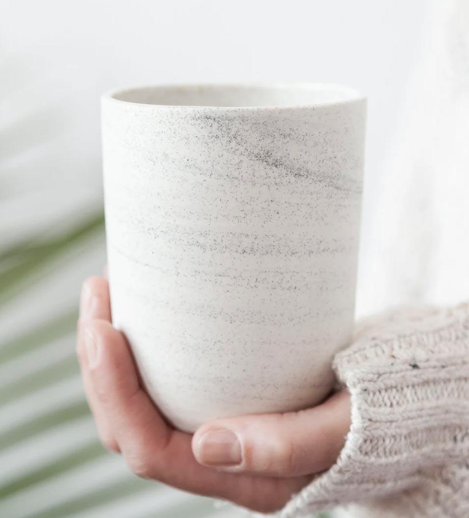 Modern Fall Decor Ideas - Large speckled handleless mug.