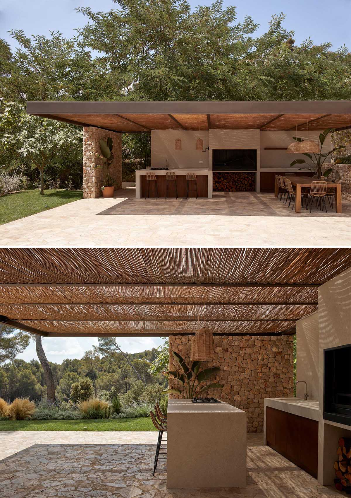 A modern shaded outdoor space with kitchen / bbq and a dining area.