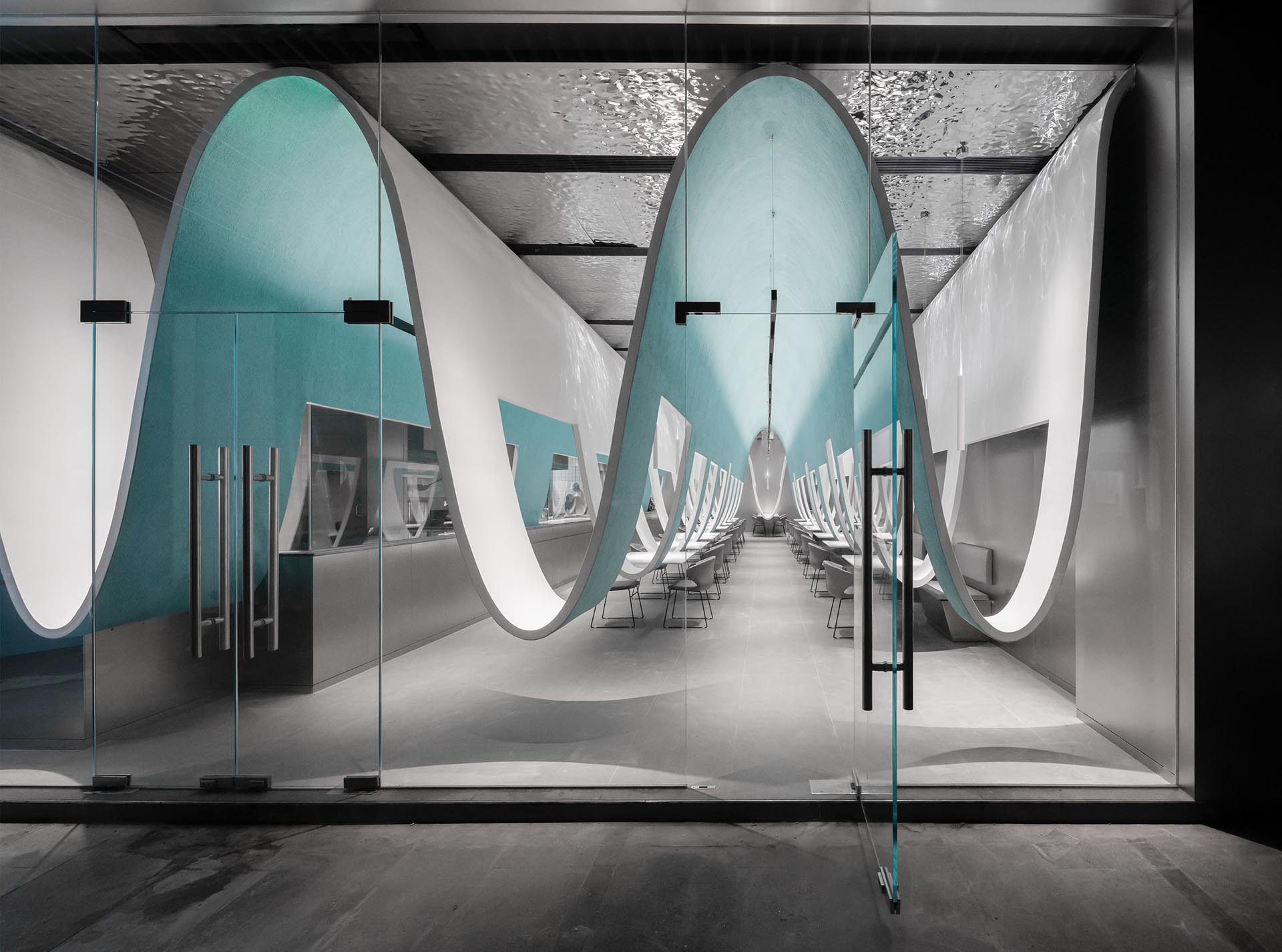 A modern restaurant with curved accents.