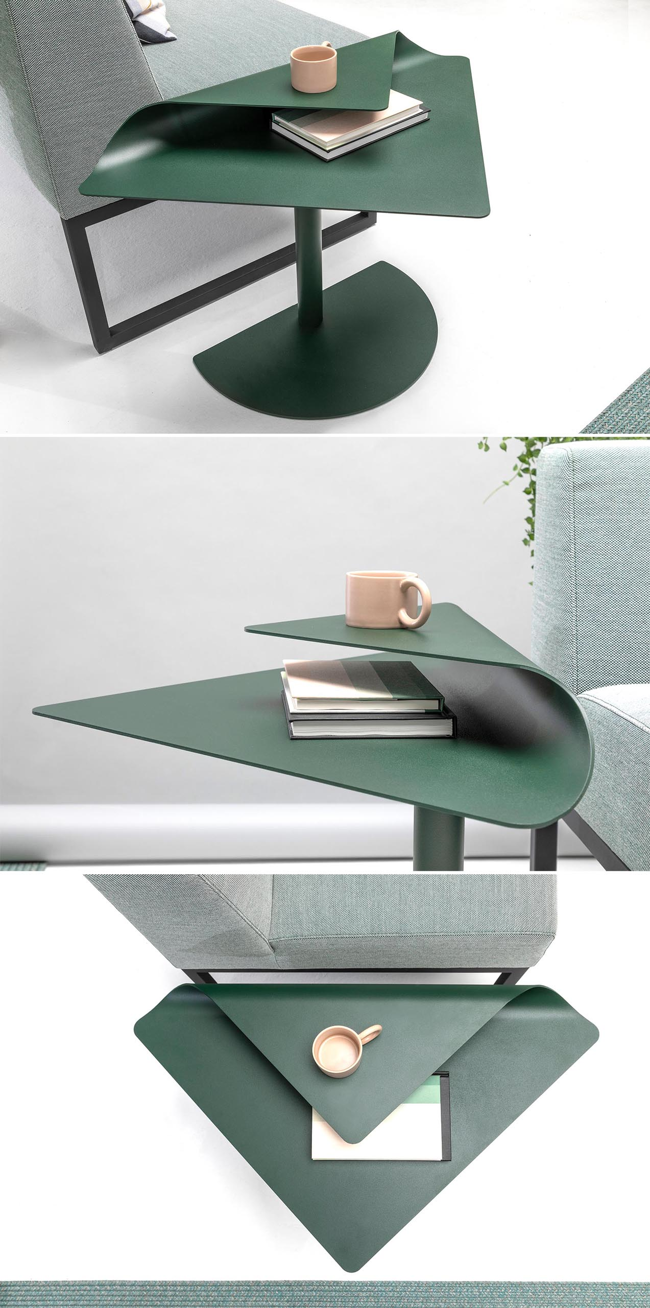 A modern side table (or coffee table) with solid oak legs and a folded steel top that creates a second level.