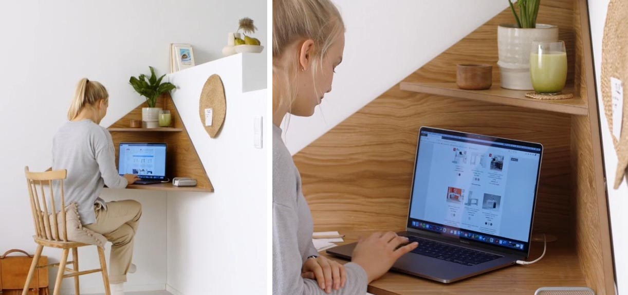 A modern and small corner wall-mounted desk with an upper shelf.