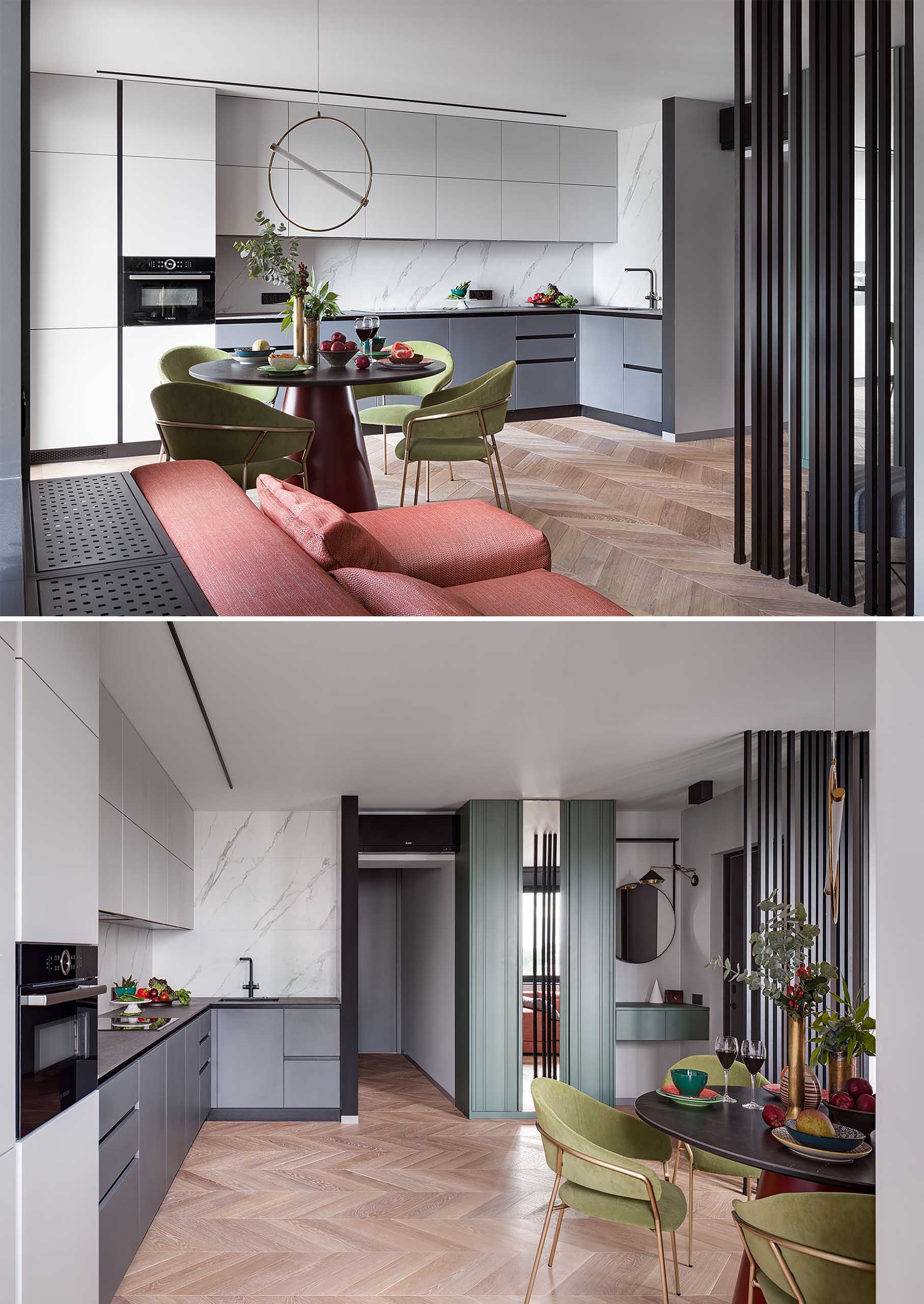 Filling up an entire wall, the linear kitchen has an integrated fridge, and hardware free cabinets. The color scheme is also reminiscent of the color scheme found in the bedroom, with dark lower cabinets and light upper cabinets.