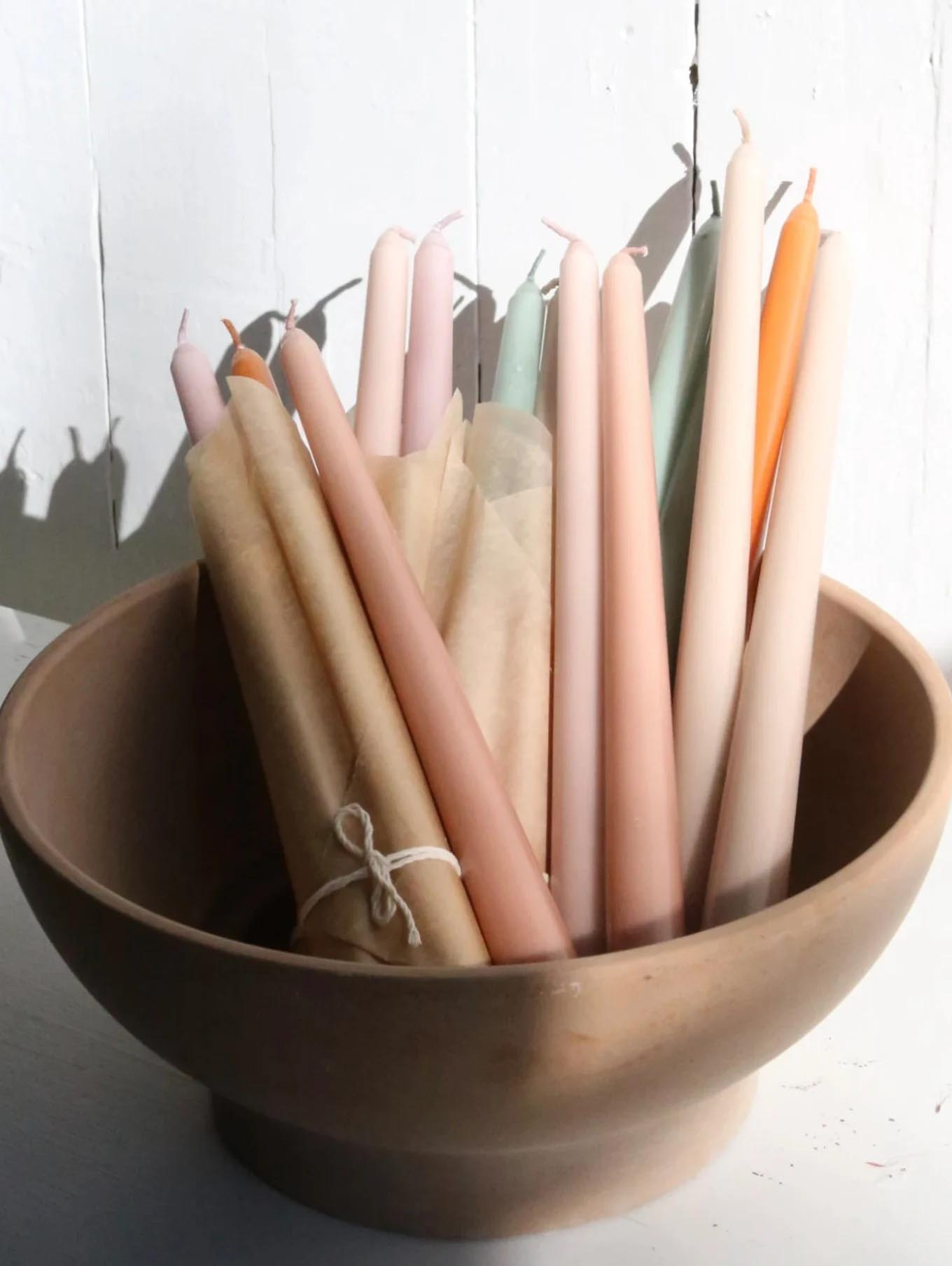 Modern Fall Decor Ideas - Taper Candles in fall colors.