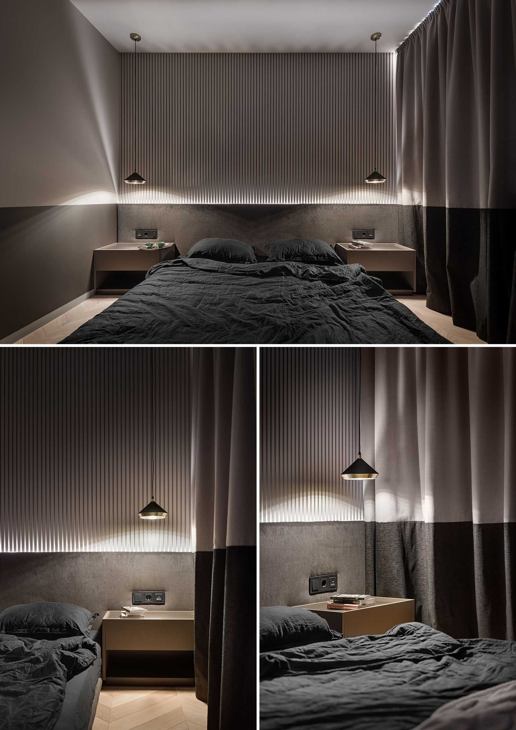 A two-tone bedroom includes different shades of chocolate and beige, a textured accent wall made from plaster, an upholstered wall-to-wall headboard, and two-tone curtains.