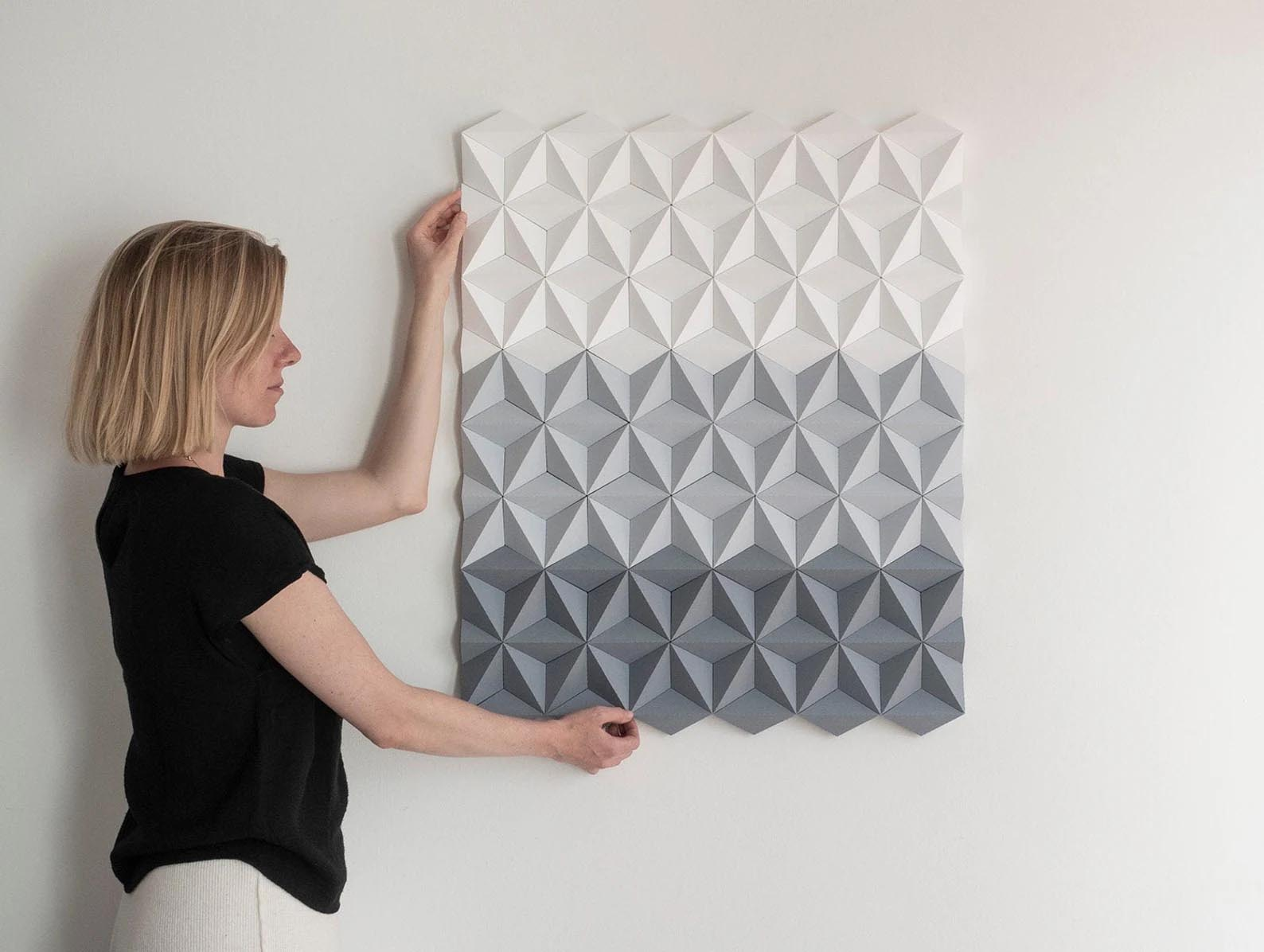 Modern Gift Ideas - Gray Origami-inspired wall art.