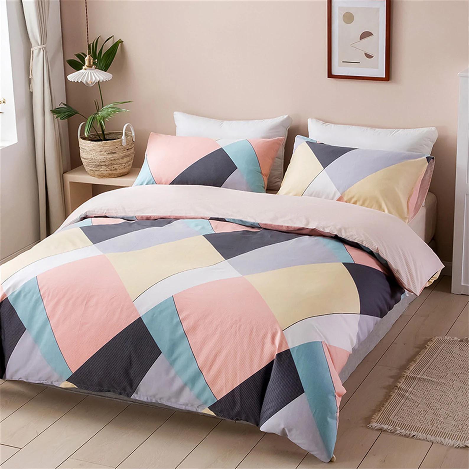 Modern Bedroom Decor - Pastel geometric bedding.