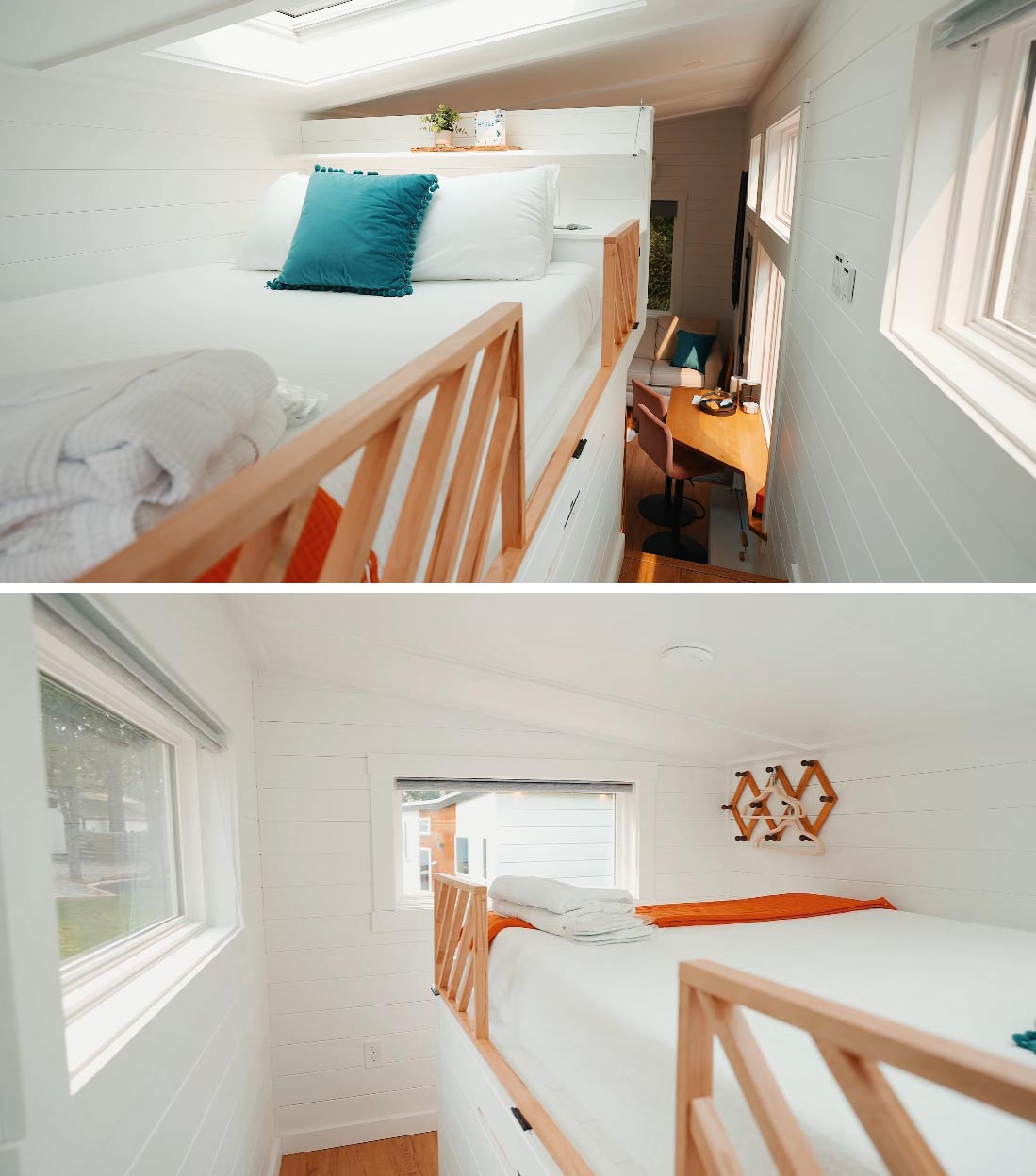 The loft bedroom of this Scandinavian-inspired tiny home includes a solar-powered skylight over the bed, letting you fall asleep looking at the stars.