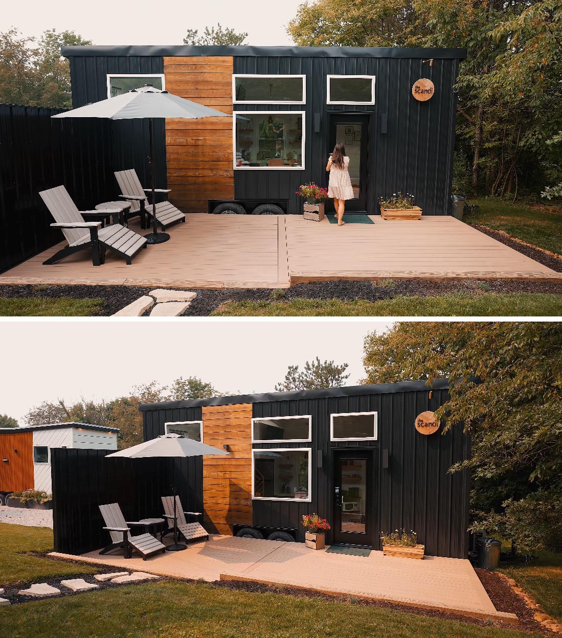 The exterior of this Scandinavian-inspired tiny home includes a black metal and wood exterior, and a deck with a privacy wall.