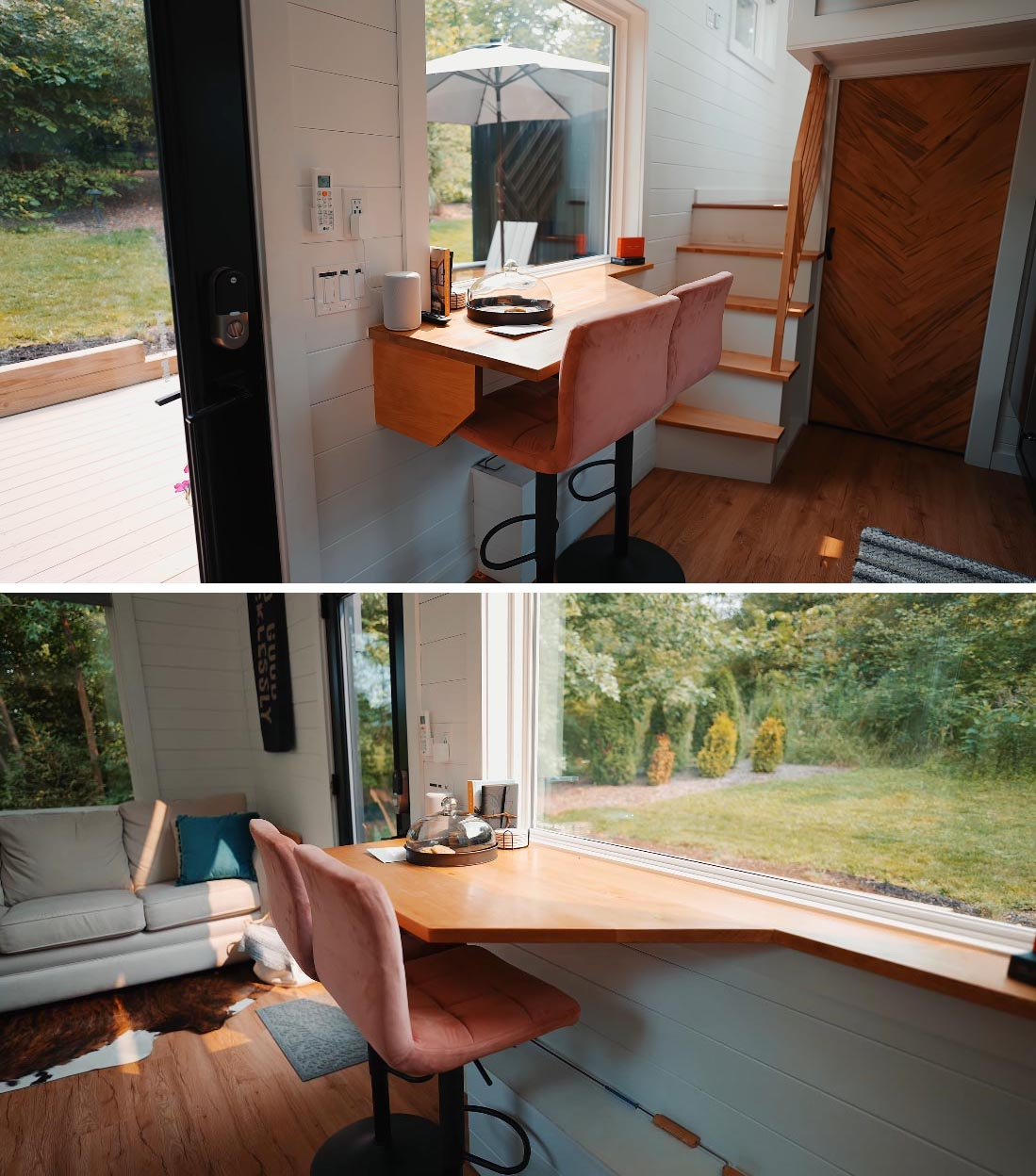 The dining area of this Scandinavian-inspired tiny home also doubles as a desk.