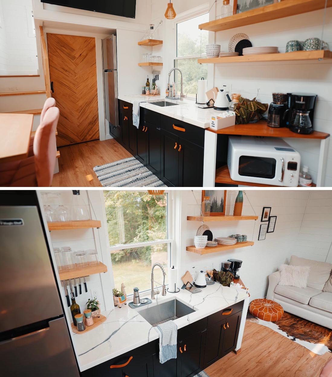The kitchen of this Scandinavian-inspired tiny home includes black cabinets with leather pulls, a white countertop with undermount sink, and hanging wood shelves.