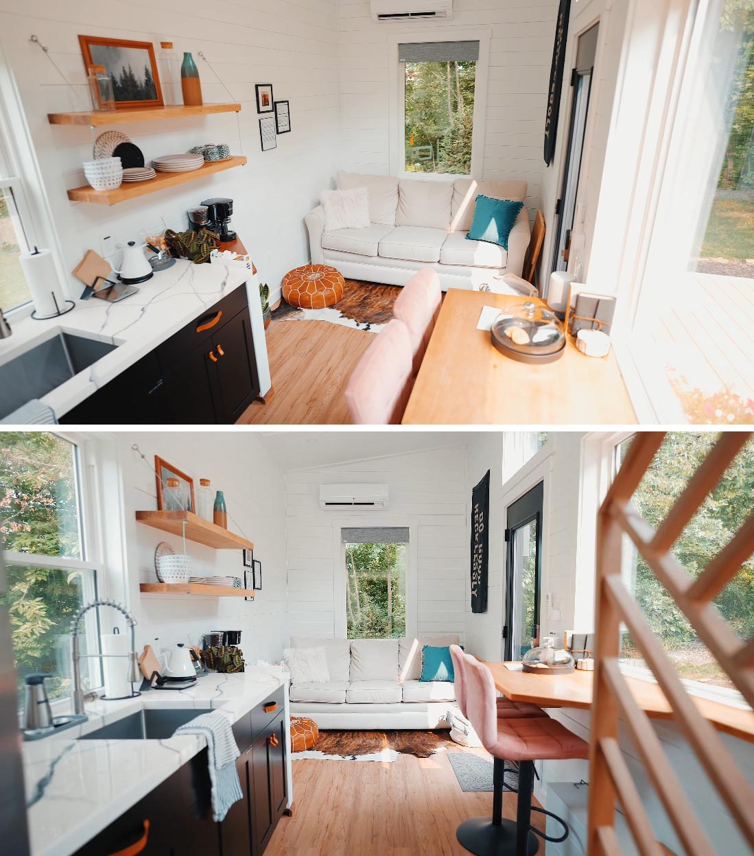 The interior of this Scandinavian-inspired tiny home has 12 foot tall ceilings make the space feel roomy and spacious, like in the living room that's been furnished with a light colored couch and a leather  ottoman.