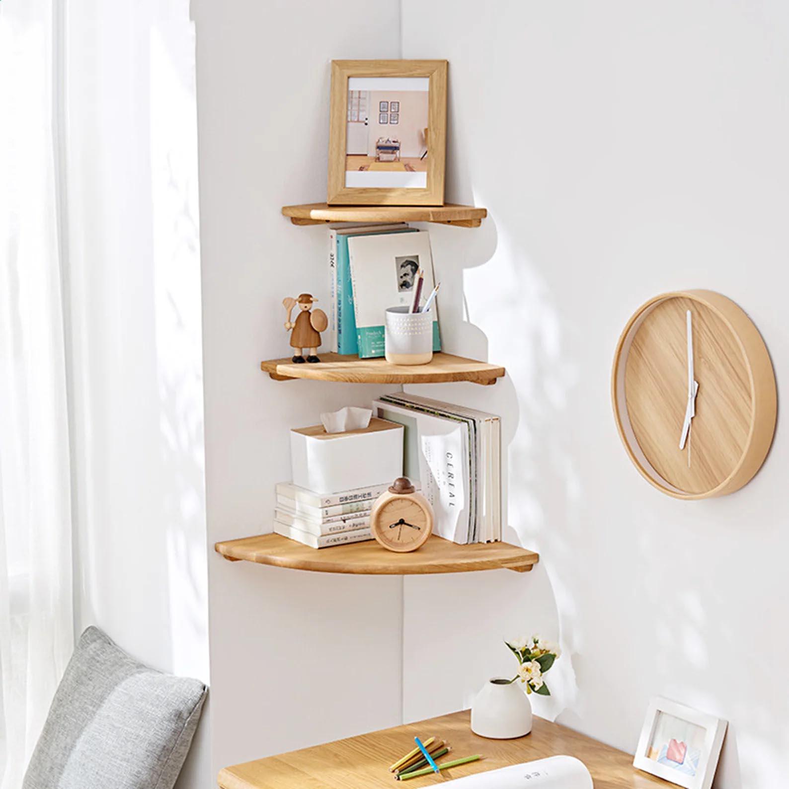 Corner Shelf Ideas - Floating wood corner shelves.