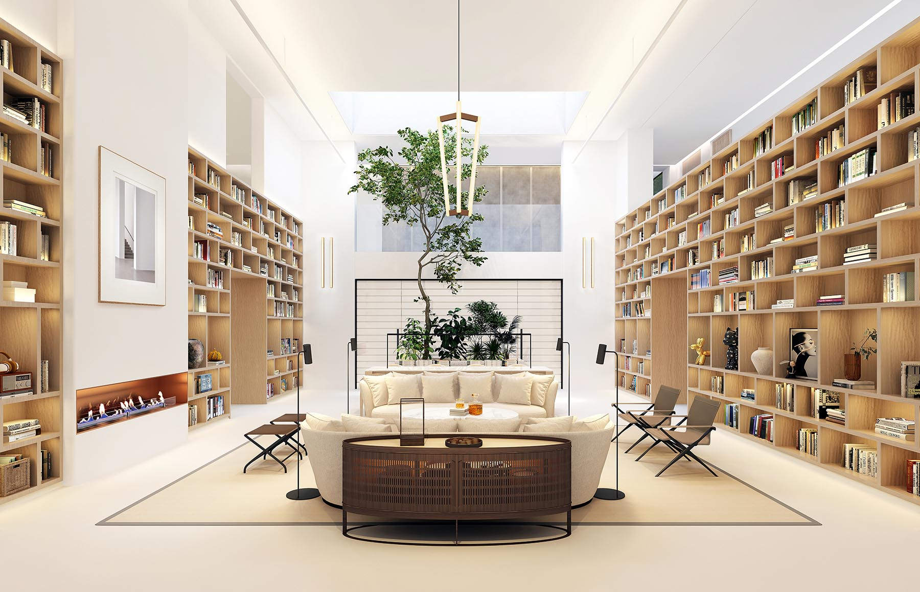 A large room with tall wood bookshelves.