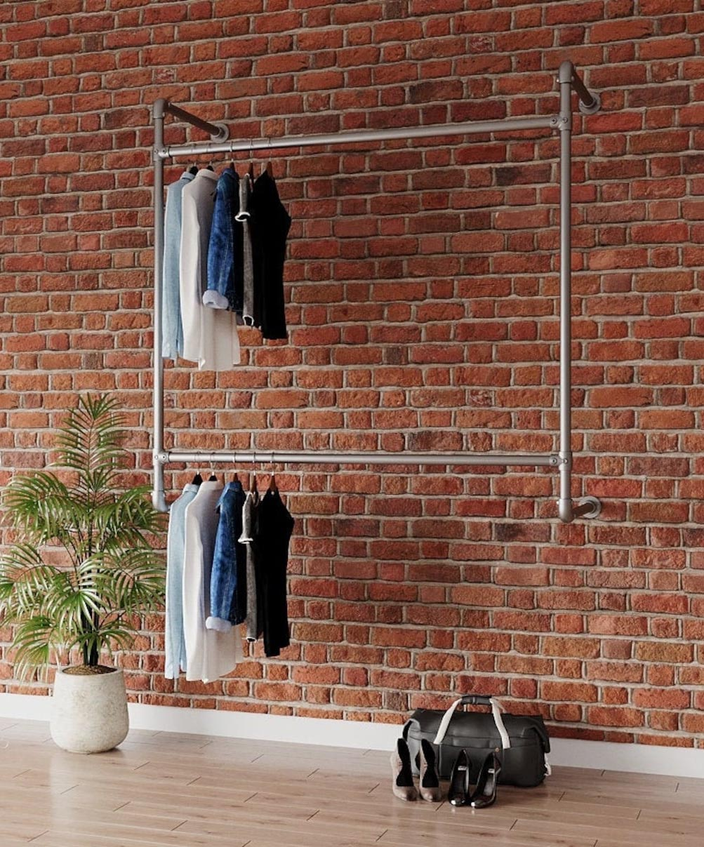 Storage Idea - Modern wall mounted industrial clothes rack.