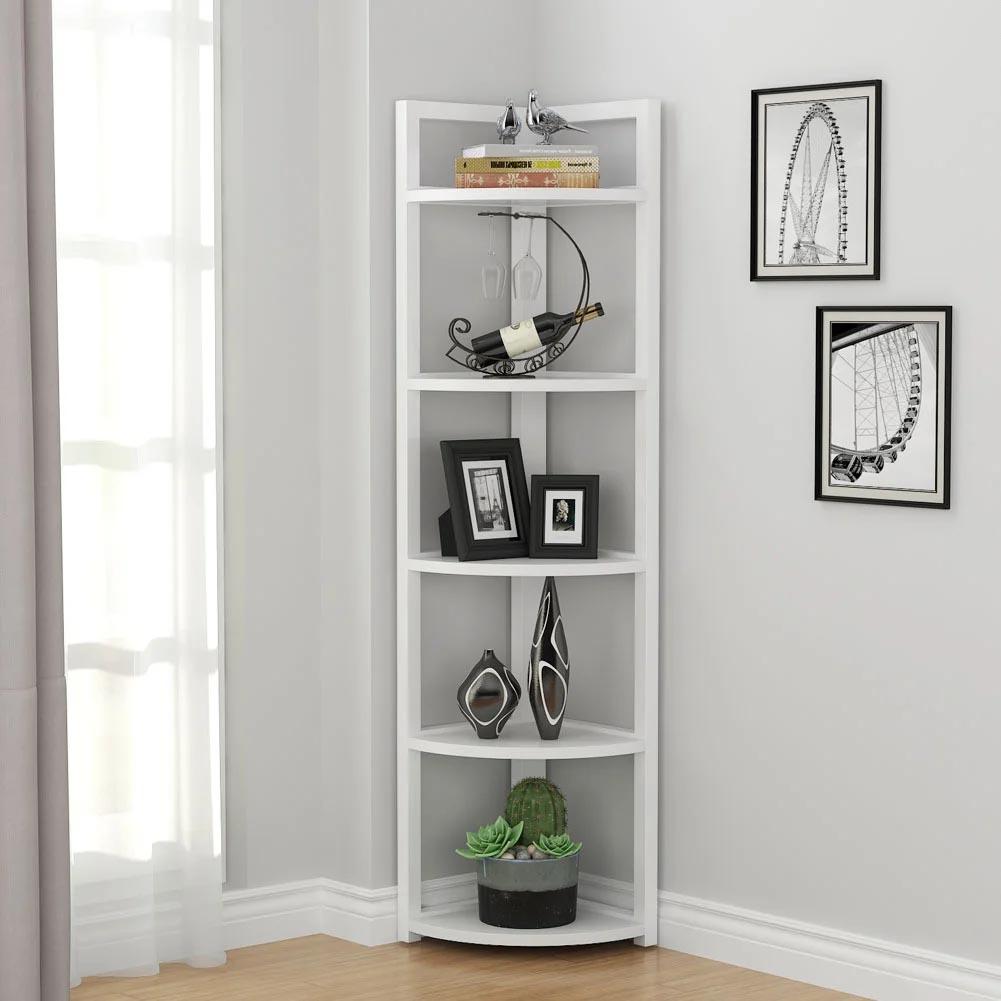 Corner Shelf Ideas - A freestanding white multi-tier corner shelf.