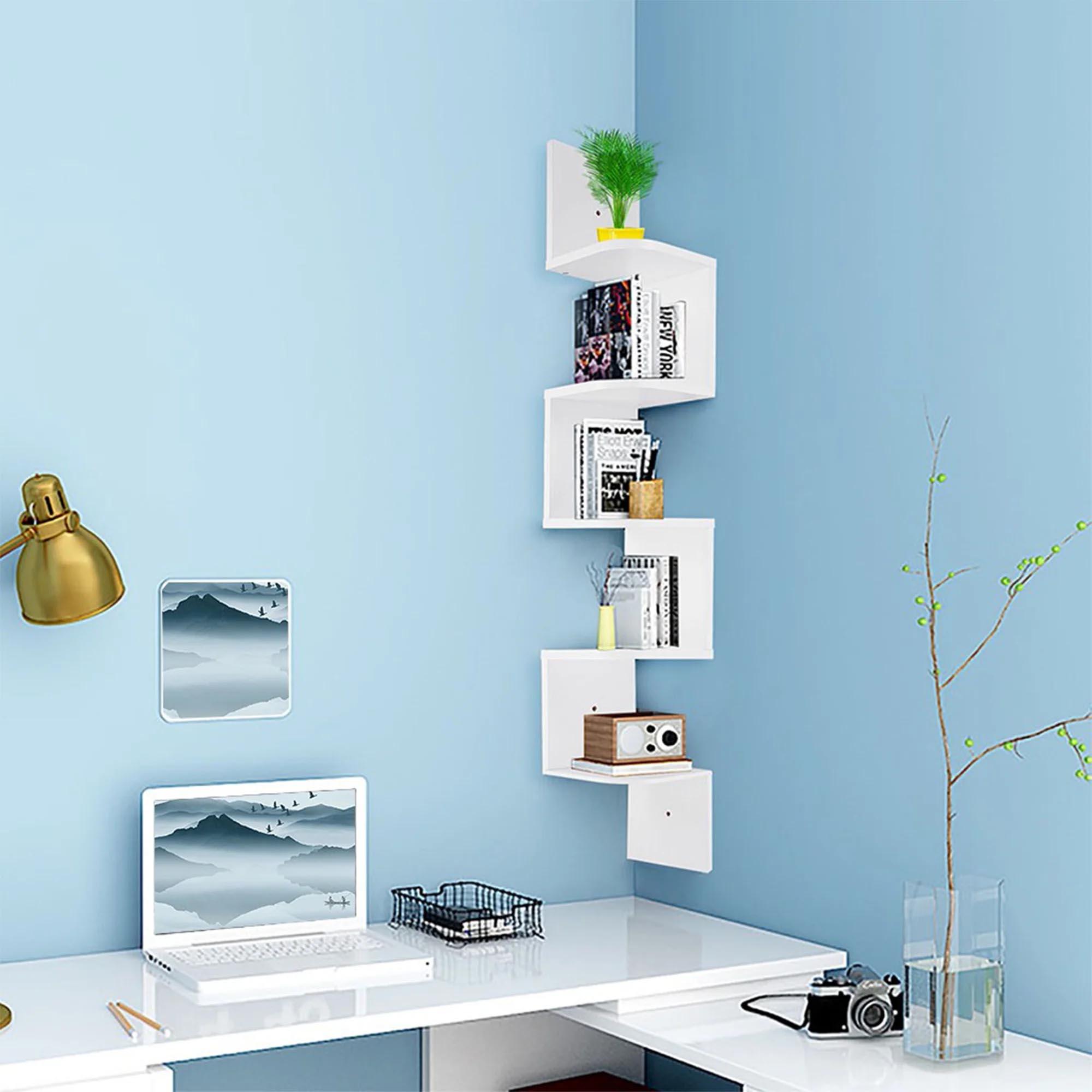 Corner Shelf Ideas - A white 5-tier wall mounted shelf.