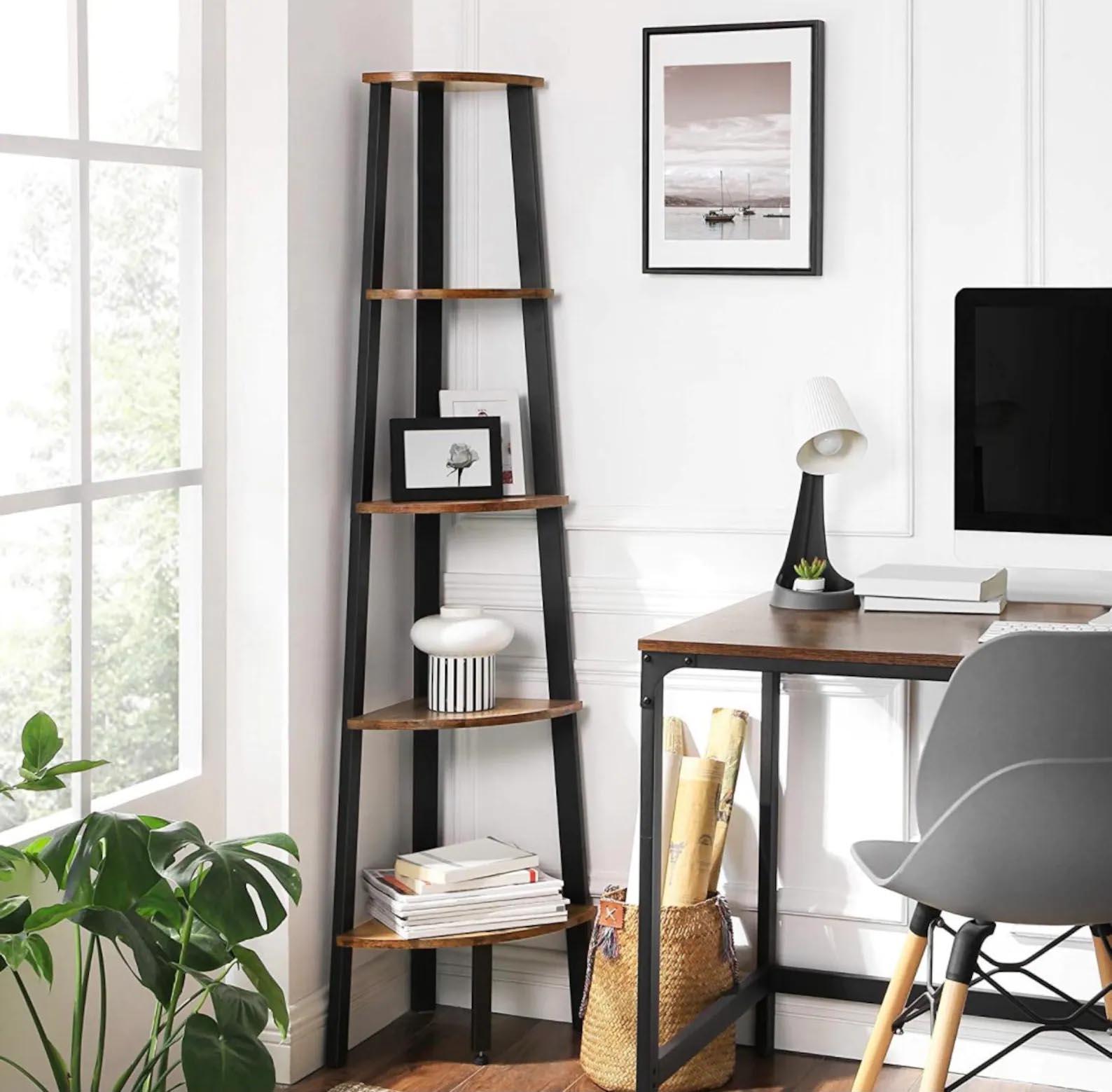 Corner Shelf Ideas - A black and wood freestanding corner shelf.