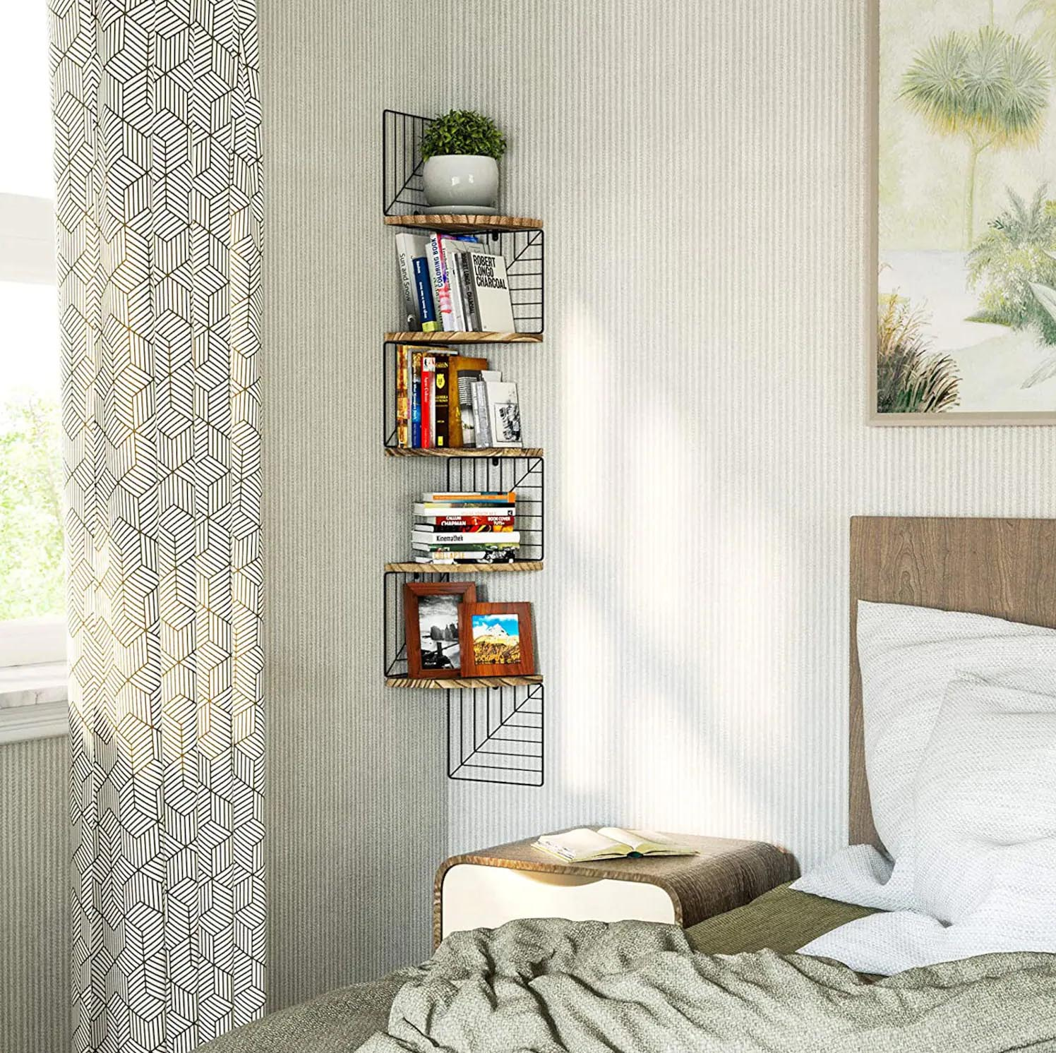 Corner Shelf Ideas - A modern corner shelf with black metal frame.