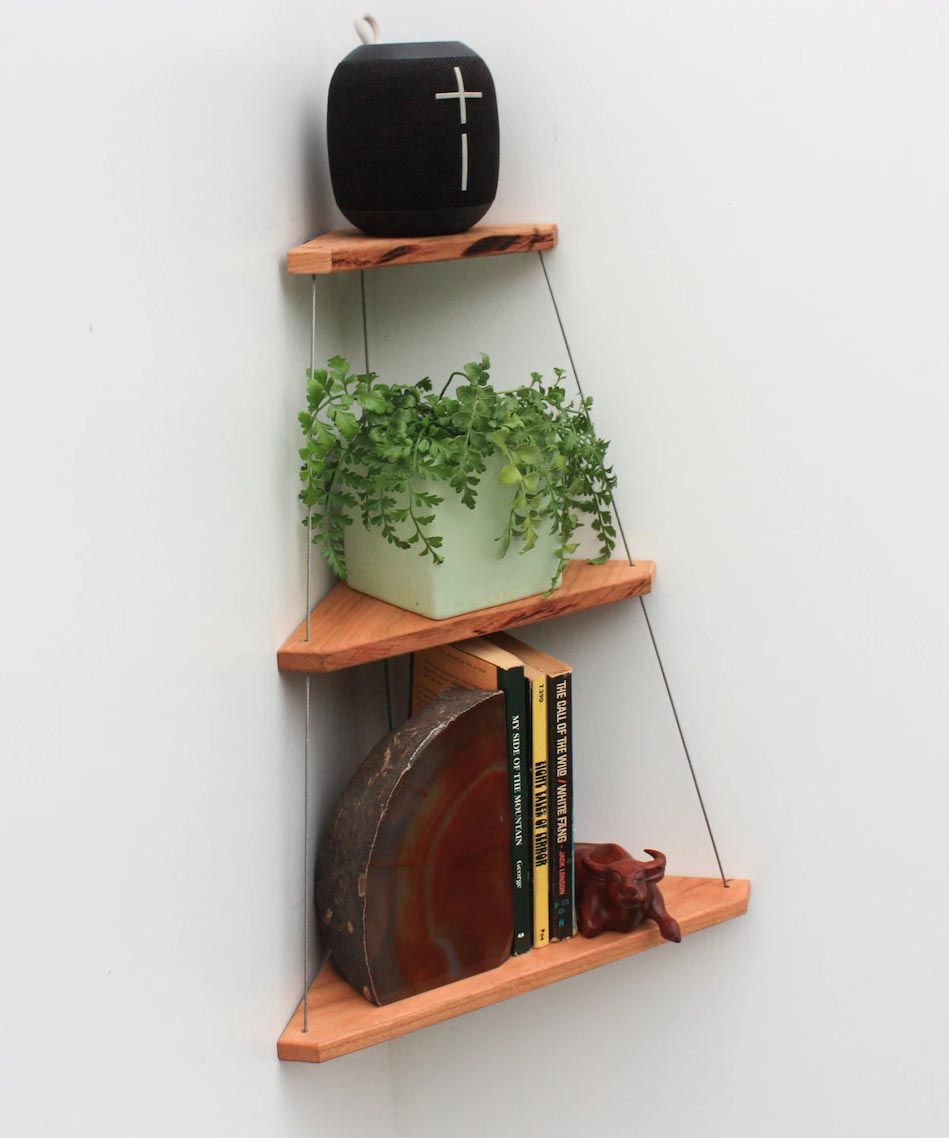 Corner Shelf Ideas - A hanging corner shelf with wood and wire.