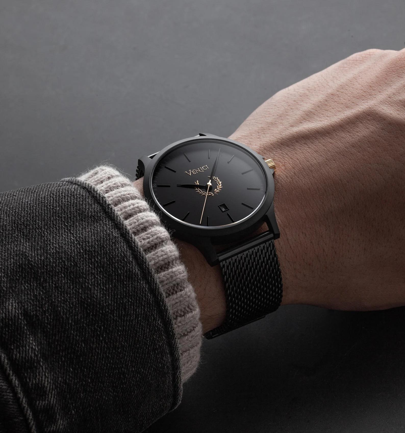Modern Gift Idea - Men's black watch with mesh band.