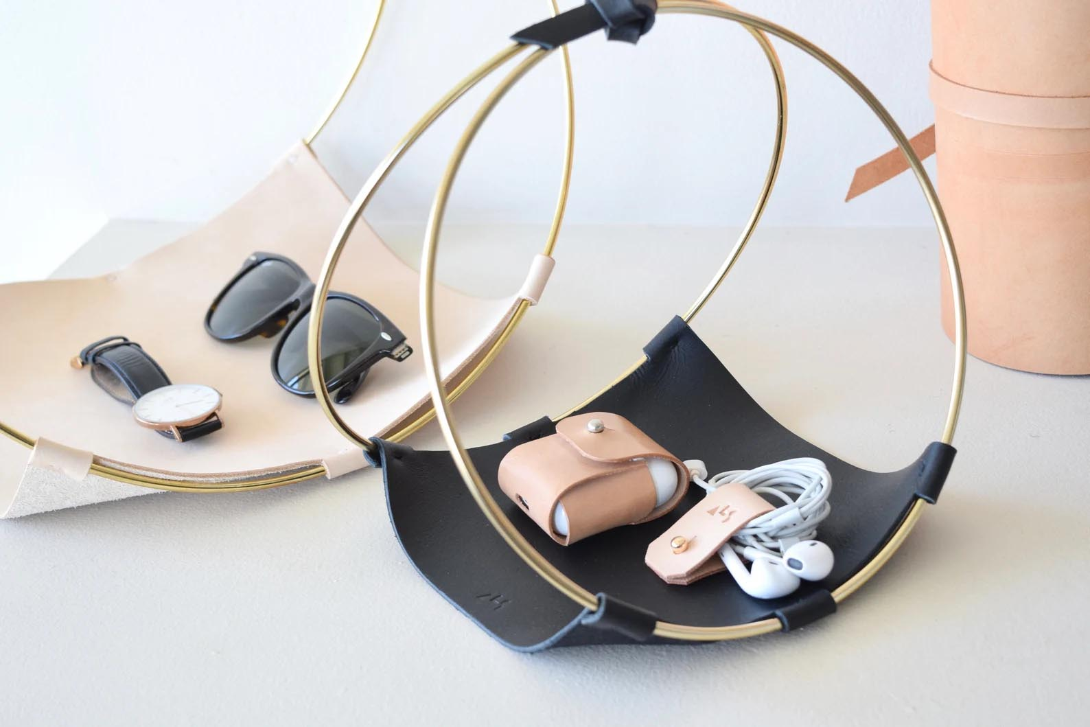 Modern Gift Ideas - Leather and brass tray.