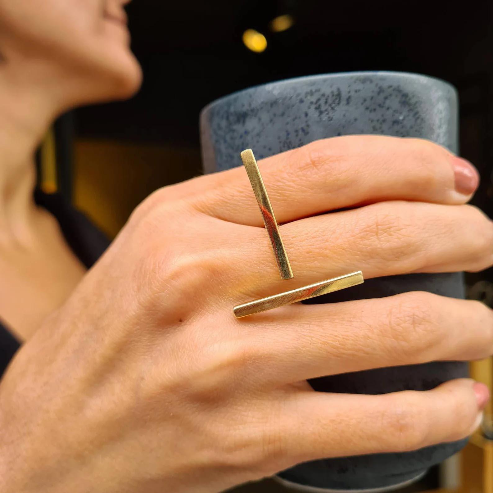 Modern Gift Ideas - Double bar minimalist ring.