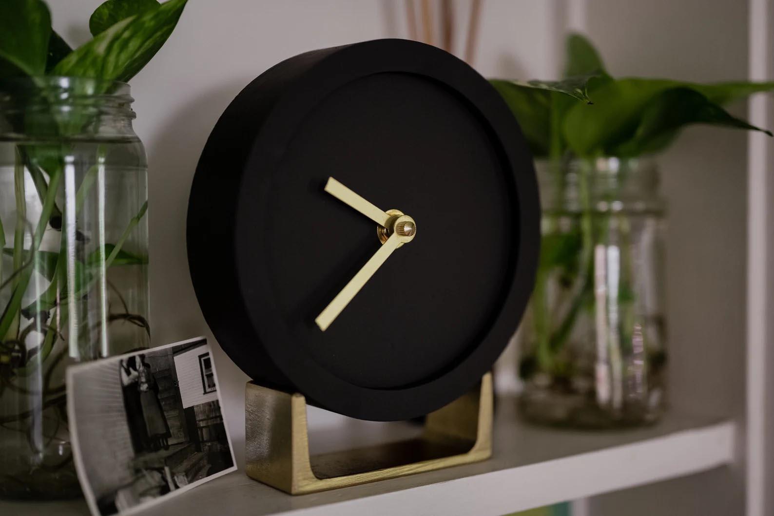 Modern Gift Ideas - Matte black tabletop clock.