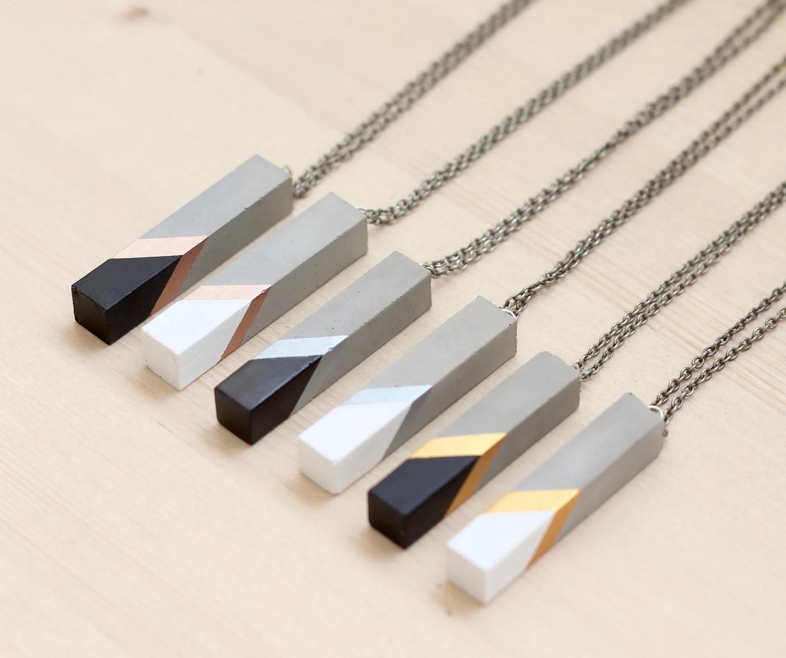 Modern Gift Ideas - Concrete bar necklace.