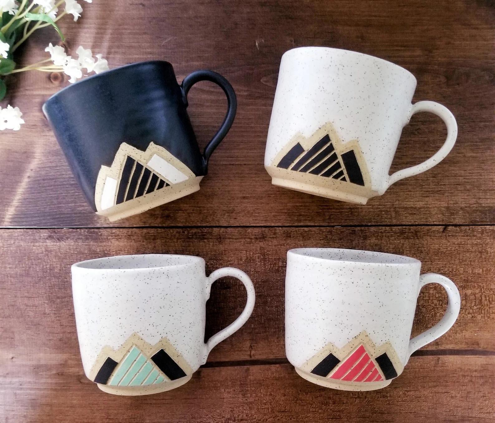 Modern Gift Ideas - Ceramic Mugs with Mountain Design.