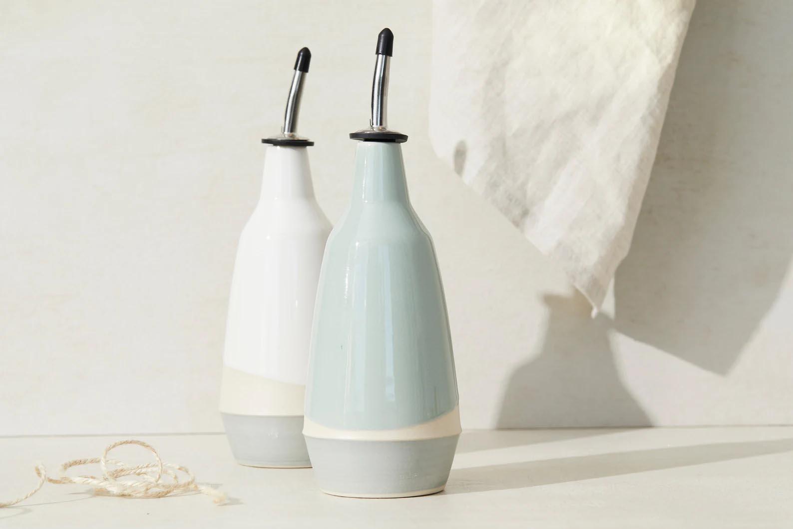 Modern Gift Ideas - Ceramic Dispensers for olive oil and vinegar.