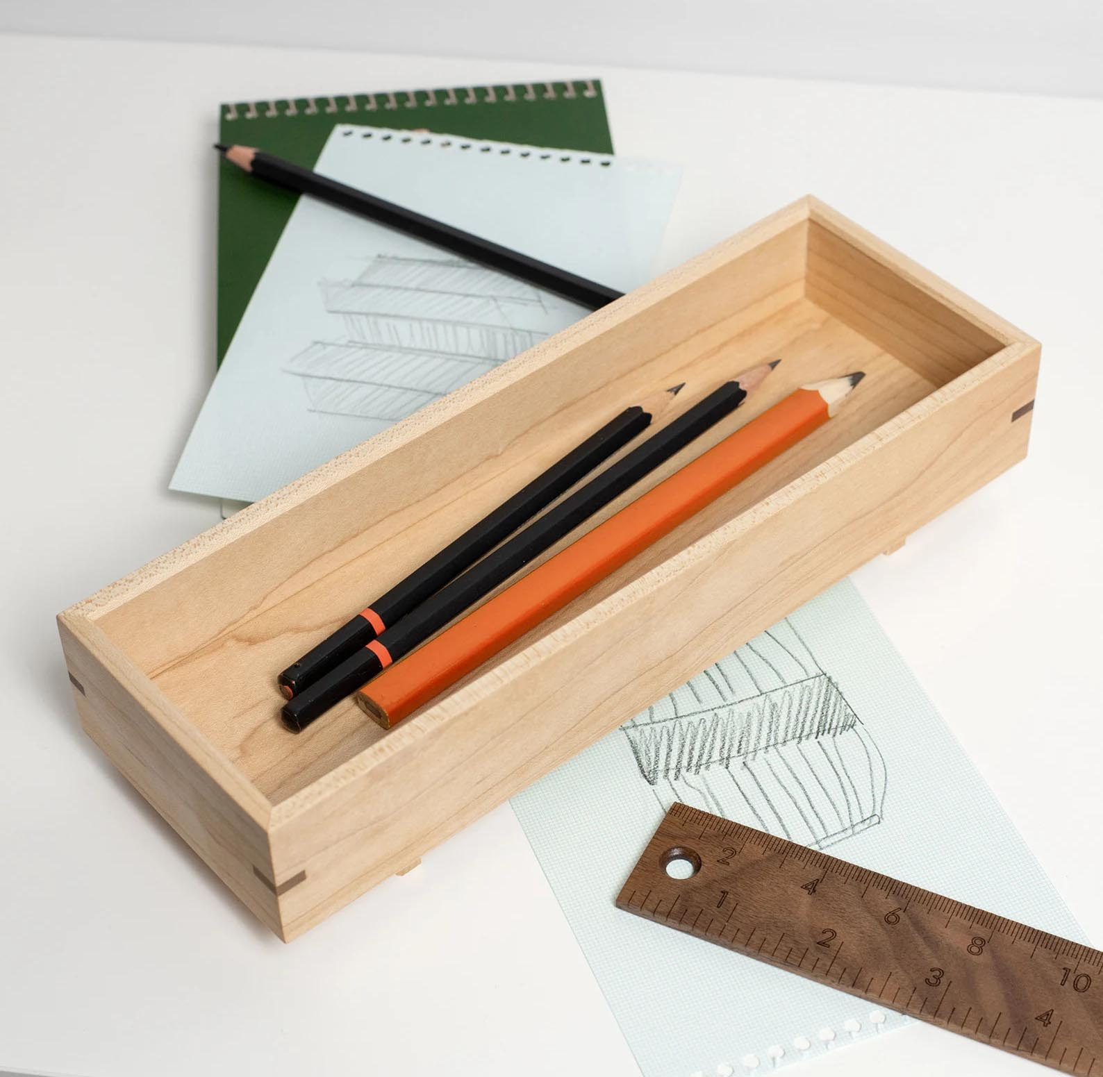 Modern Gift Ideas - Wood pen and pencil tray.