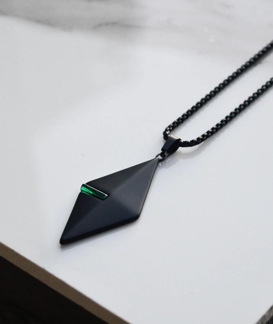 Modern Gift Ideas - Matte black pendant necklace.
