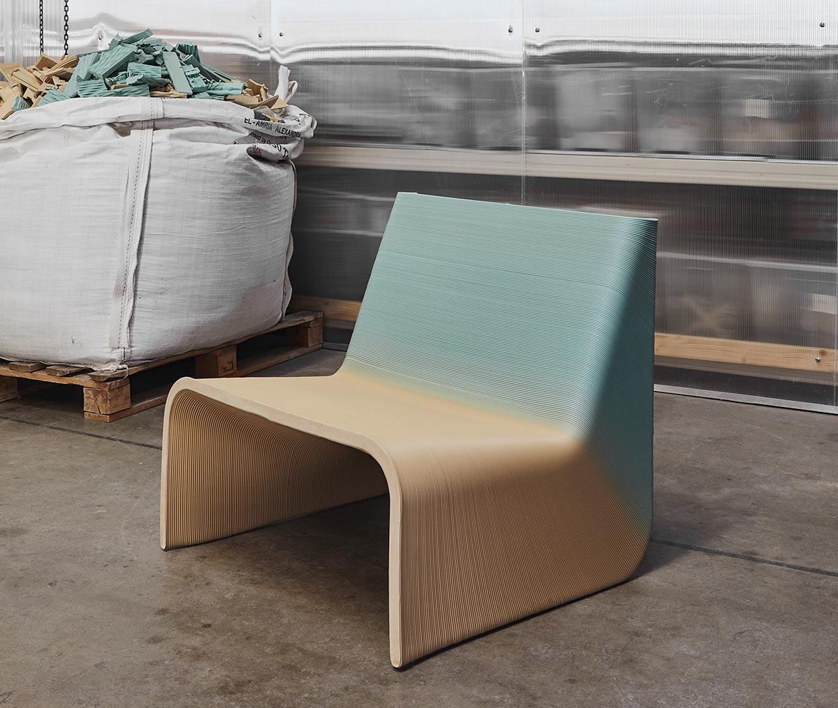 A modern 3D printed chair made from waste materials.