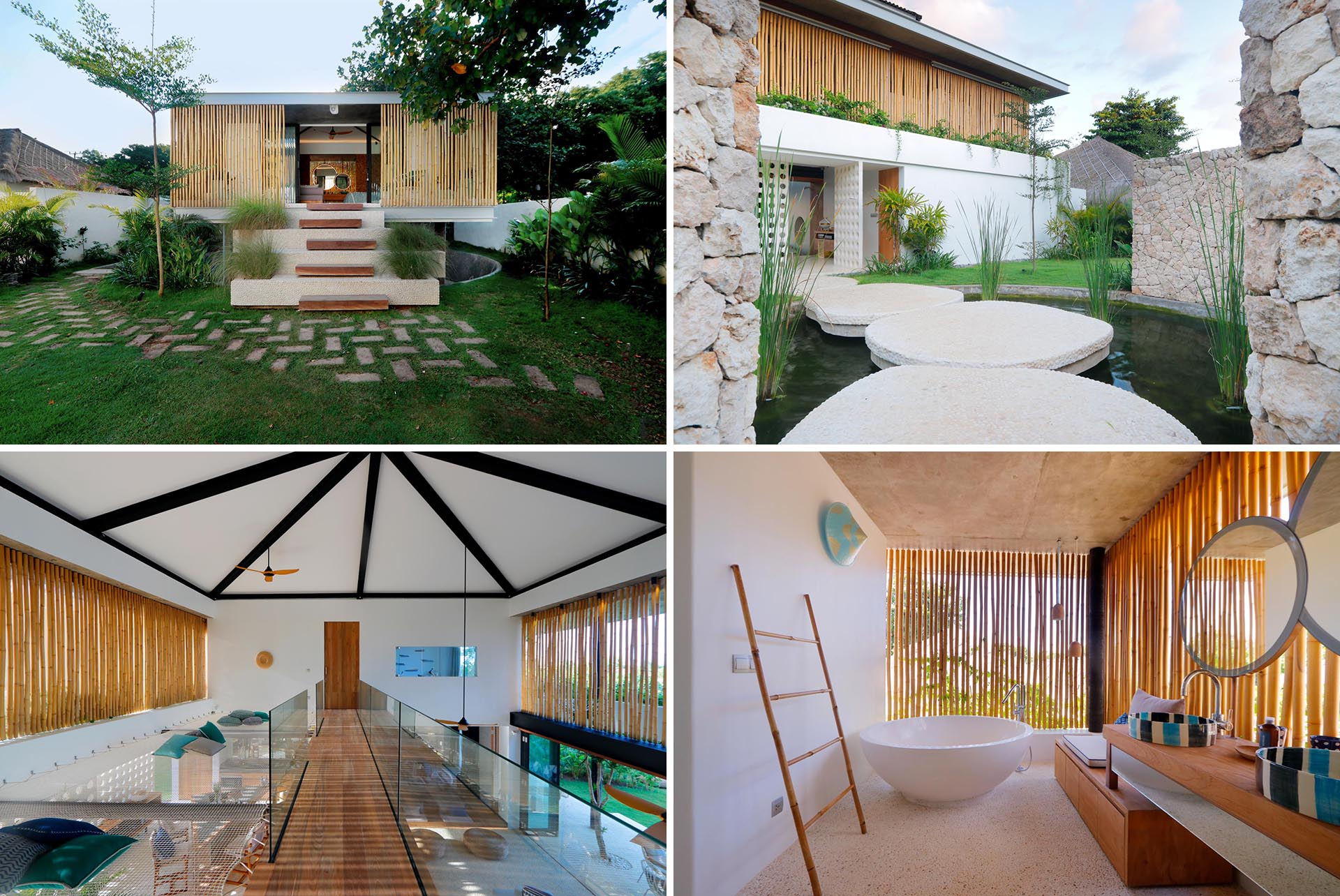 A modern beach home with a a white exterior and interior, includes bamboo screens for privacy and shade.