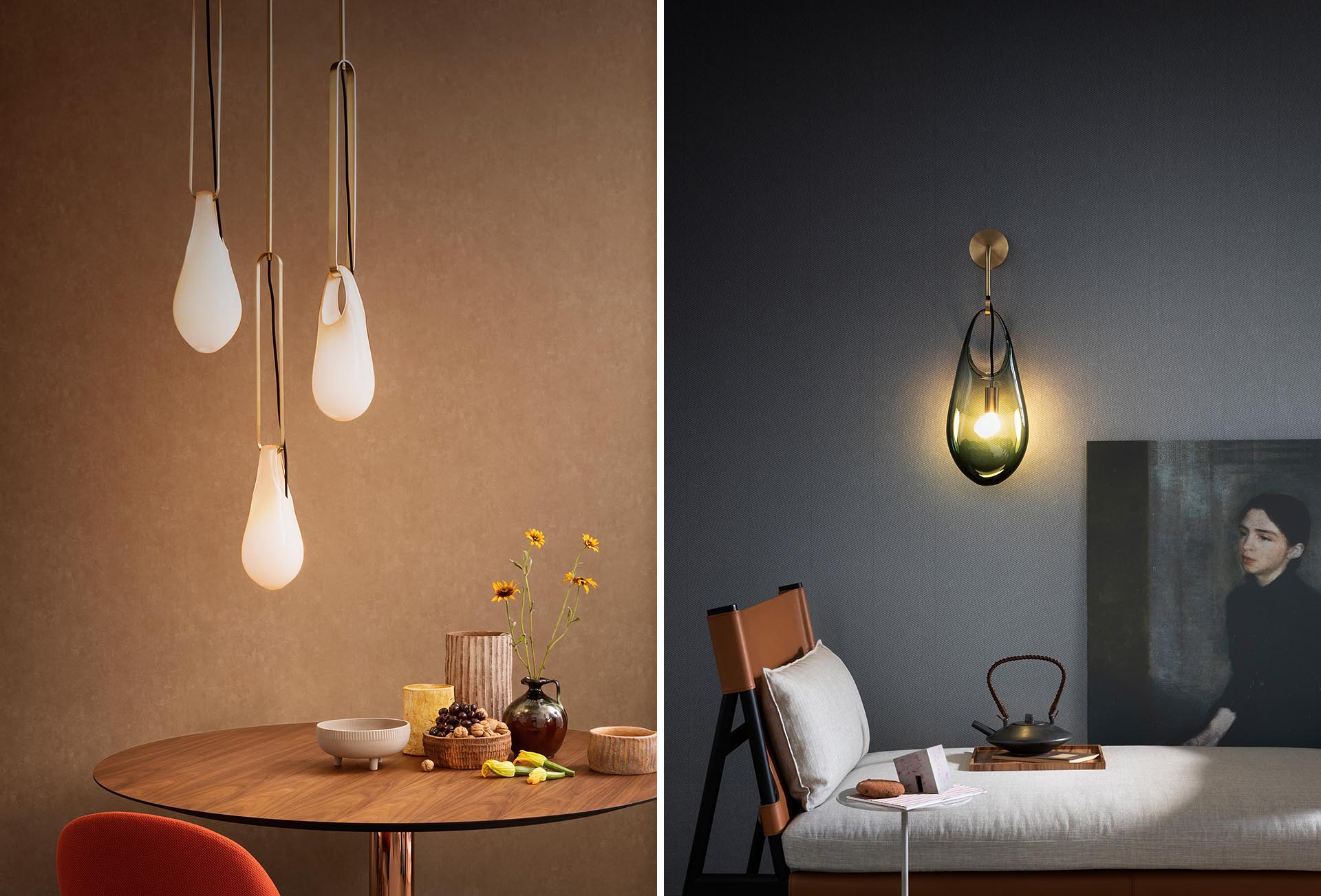 The Hold pendant lights and sconces, are modern handblown glass lights that look like they're hanging from hooks.