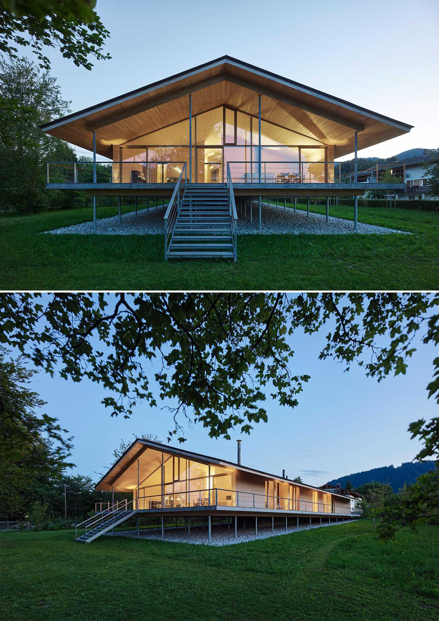 The timber construction of this modern house was mostly made from local woods, and is elevated on stilts to protect it from flood.