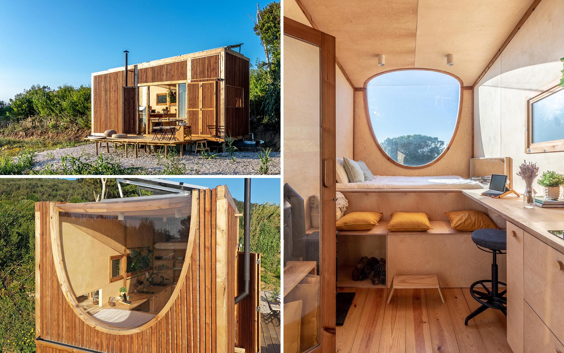 A modern tiny house covered in heat-treated timber, has a birch plywood interior, kitchen, bathroom, and two sleeping areas.