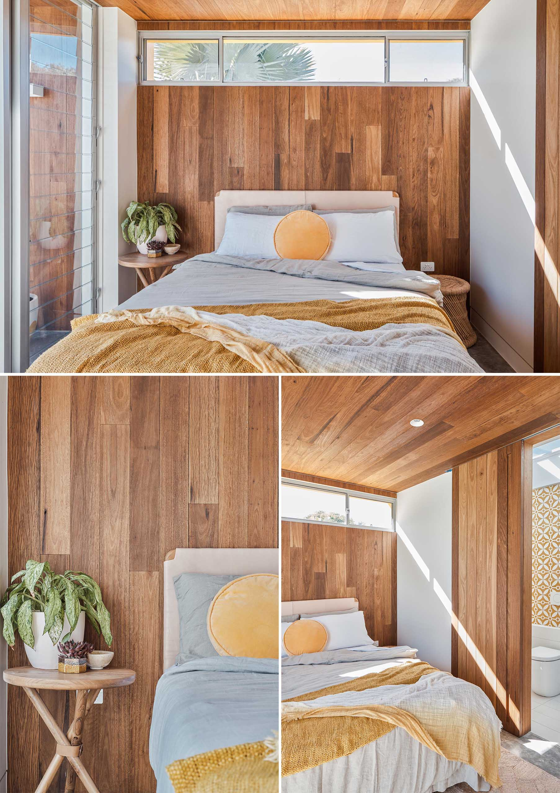 The wood ceiling continues through for a seamless look, and in the bedroom it flows down the wall to act as a backdrop for the bed.