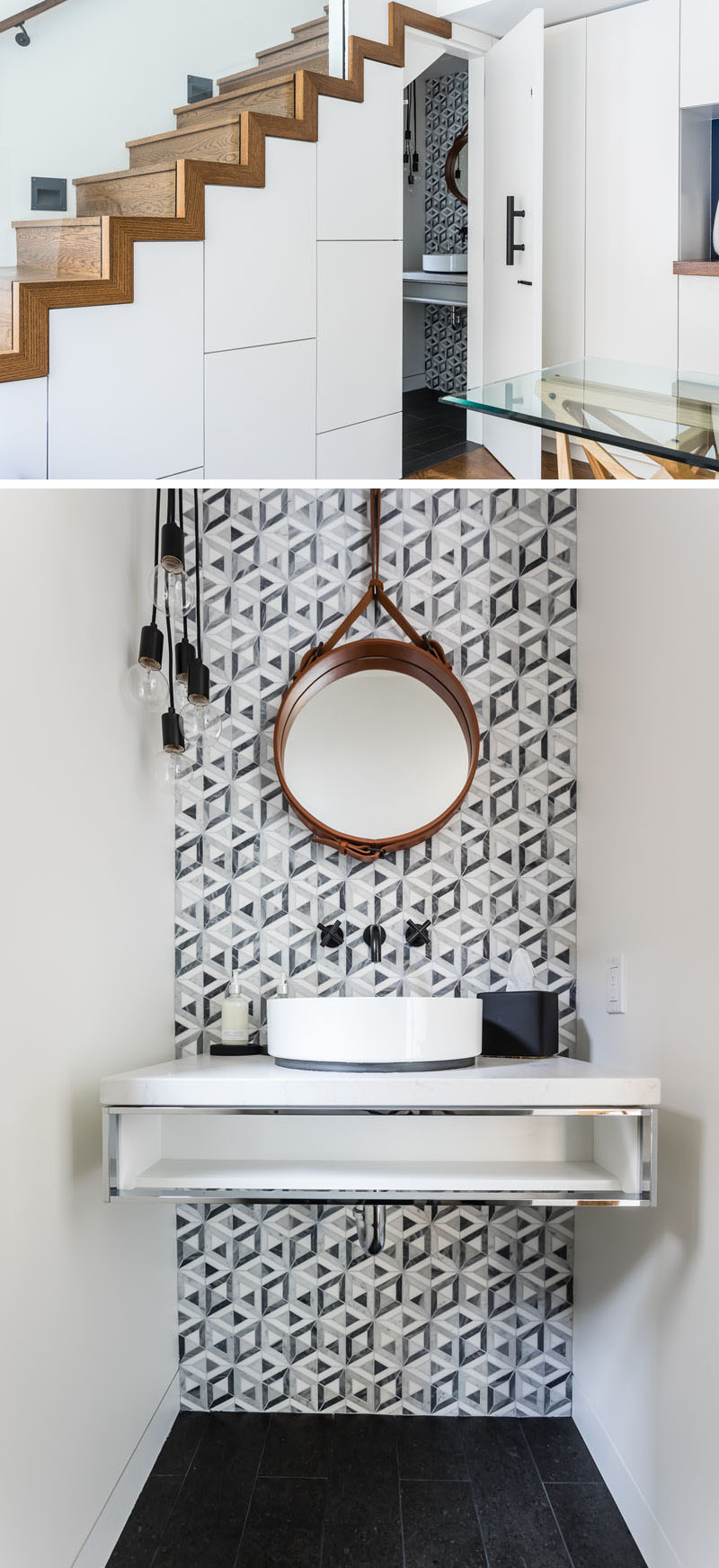A small powder room designed by JMJ Studios, has a decorative tiled wall and a wall-mounted vanity.