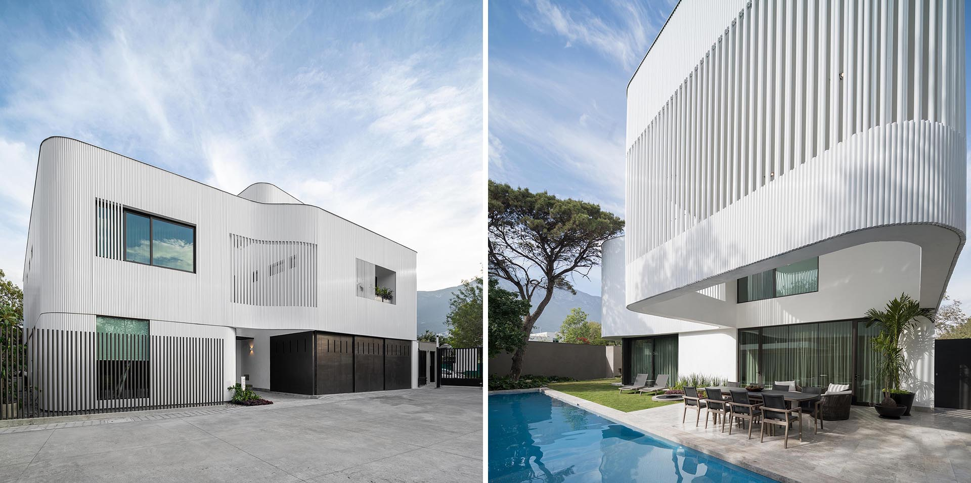 The metal pipes create a screen on the exterior of this modern house, and serve as a rainscreen for the solid walls, act as privacy and shading for selected windows